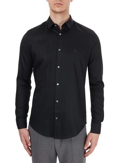 Emporio Armani  Slim Fit Düz Yaka Pamuklu Gömlek Erkek Gömlek S 6H1C09 1Nb0Z 0999 Siyah